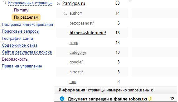 isklu4ennaja stranica Yandex TIC и индексирование страниц